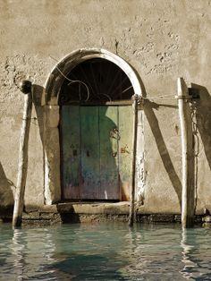 Venice Photography The Green Door -Italy Rustic Wall Art Travel Archival Print via Etsy