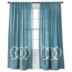"NEW THRESHOLD BLUE TAN FRETWORK BORDER WINDOW PANEL 84""L #Threshold #Contemporary"