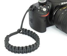 "The ""cordy classic"" black #paracord #camera #wrist strap - handmade by cordweav…"