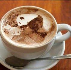and Drink wallpaper cartoon Panda Love, Cute Panda, Panda Panda, Coffee Love, Coffee Art, Drink Coffee, Panda Eyes, Coffee Design, Latte Art