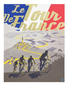 Retro Tour de France poster illustration door ArtBySassanFilsoof