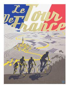 Retro Tour de France poster illustration door ArtBySassanFilsoof