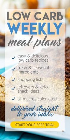 Low Carb Weekly Meal Plans. Make the #ketodiet Easy! Great for low carb or ketogenic diet.