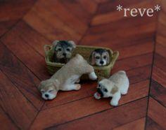 OOAK-Realistic-Miniature-Set-of-Puppies-Handmade-Dollhouse-1-12-Sculptures