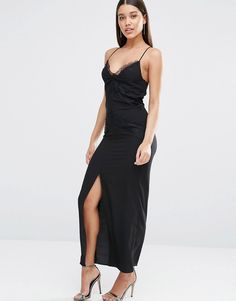 Image 1 ofRiver Island Cami Lace Detail Maxi Dress