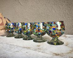 Five Mexican Blown Glass Cordial Glasses Goblets Speckled Glass Hand Blown, Southwestern Decor