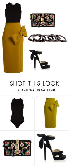 """""""Business dinner"""" by shannonspearing ❤ liked on Polyvore featuring Getting Back To Square One, Roksanda, Dolce&Gabbana, Jimmy Choo and Free Press"""
