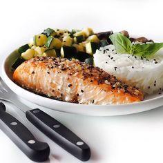 food, healthy, mushroom, rice, salmon