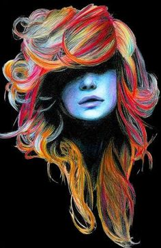 Looks like oil pastel, or colored pencil maybe. I love the use of color to layer hair in drawings and paintings.