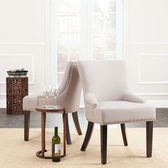 Safavieh Loire Beige Linen Nailhead Dining Chairs (Set of 2)- possible dining chairs