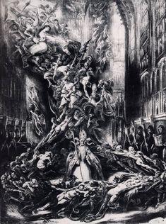 "centuriespast: "" La Ronde du Sabbat (The Round of the Sabbath or Witches' Sabbath) 1828 Louis Boulanger (French, mfa boston "" Arte Horror, Horror Art, Dark Fantasy Art, Dark Art, Satan Drawing, Gravure Illustration, Sympathy For The Devil, Satanic Art, Evil Art"