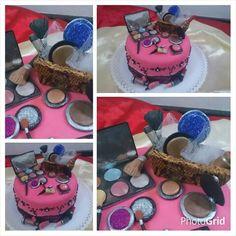 Torta cumple con mucho gloumur. Muchos maquillajes y brillos