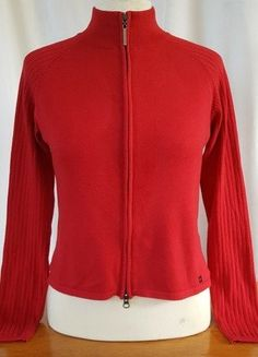 Buy here at #vinteduk http://www.vinted.co.uk/womens-clothing/hoodies-and-jumpers-cardigans/6622641-river-island-size-12-14-red-funnel-neck-double-zip-cardigan