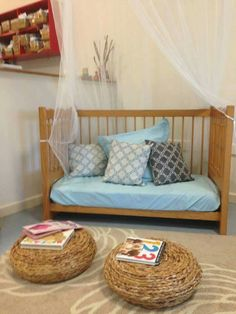 This crib conversion is wonderful. The color choice, the canopy, and the wicker seats/tables go great together and create calm. Reggio Classroom, Classroom Decor, Communication Friendly Spaces, Childcare Rooms, Parents Room, Room Kids, Preschool Rooms, Cosy Room, Home Daycare