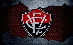 Download wallpapers Vitoria, 4k, Seria A, logo, grunge, Brazil, soccer, football club, metal texture, art, Vitoria FC