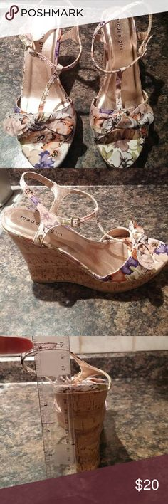 Steve Madden sandals wedges Gorgeous Madden Girl wedges in a beautiful floral print!  I had to have these even though I knew they might be a little high for me!  I wore them once to dinner with the out-laws (I mean in-laws😄)!  My loss is your gain!  These beauties need a good home! Steve Madden Shoes Wedges