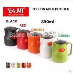 1pc 350ml/12oz 5 color Motta Style Teflon Nonstick coating Stainless Steel Milk Pitcher/Jug Foaming Jug latte art for barista