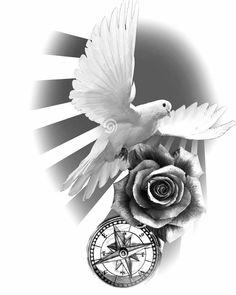 Dove Tattoo Design, Clock Tattoo Design, Full Sleeve Tattoo Design, Half Sleeve Tattoos Designs, Best Sleeve Tattoos, Tattoo Designs, Dove And Rose Tattoo, Dove Tattoos, Forearm Tattoos