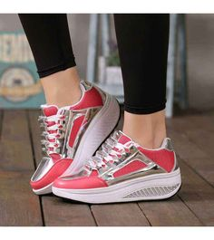 Women's #red leather lace up #rocker bottom sole shoe sneakers, lightweight, reflective design, casual, leisure occasions.