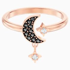 Take style inspiration from the mystical night sky this season with this cool, classic open ring. Featuring moon and star motifs, which symbolise hopes and dreams, the ro Find out more Swarovski Gifts, Swarovski Ring, Swarovski Crystals, Mystique, Open Ring, Black Crystals, Black Rings, Rose, Diamond Jewelry