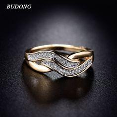 Budong女性インフィニティリングバレンタインデーファッション愛バンドゴールドのカラーリングキュービックジルコニア結婚式アクセサリージュエリーXUR227