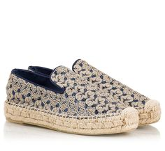 Ash Xem espadrilles taking an boho ethnic approach in their design. Crafted from gold crochet upper and dotted with blue sequins, the raffia wedge makes this flatform pair a stunning choice for your holidays whilst. Pair them with almost everything and wear them all summer long.