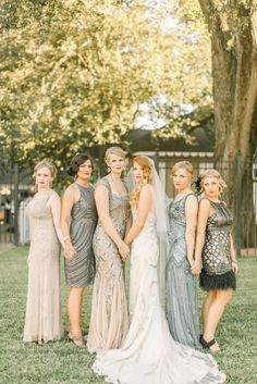 Art Deco Sparkly Neutral Bridesmaid Dresses | Hair – Do or Dye Salon | Makeup – Ginny Lee (Do or Dye Salon) | Belle Reve Bridal Couture | Maggie Sottero | Bourbon & Lace Events | Alicia Pyne Photography http://knot.ly/6491BKvpR |
