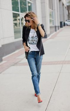 DETAILS. London graphic tee,/ Black Blazer // Skinny Boyfriend Jeans ,Red Patent Heels