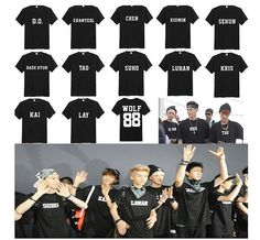 Kpop Wolf 88 EXO Unisex T-shirts S, M, L, XL, XXL WANT. Except how in the hell would I pick just ONE name for the front? I don't know my bias yet. :(