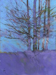 Originele landschap schilderij paarse berken door PaulBaileyArt