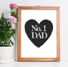 """Fathers Day Gift for Dad """"No. 1 Dad"""" Fathers Day Download Best Dad Ever Fathers Day Printable Wall Art Poster Card *INSTANT FILE DOWNLOAD*"""