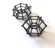 Donutonium -- Black 3D Printed Earrings