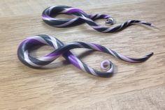 Spiral Gauges Twisted Gauges Black Purple Lavender by ArtandKnot