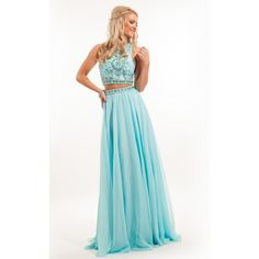 Rachel Allan 7220 Prom Long Dress Long High Neckline Sleeveless ($498) ❤ liked on Polyvore featuring dresses, gowns, formal dresses, light aqua, long prom gowns, formal evening gowns, long white gown, two piece prom dresses and white gown