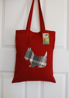 Grey Scottie on Red Tote Bag, Reusable Shopping Bag, Scottish Gifts Handmade Shop, Etsy Handmade, Handmade Gifts, Reusable Shopping Bags, Reusable Bags, Red Tote Bag, Scottish Gifts, Scottish Tartans, Westies