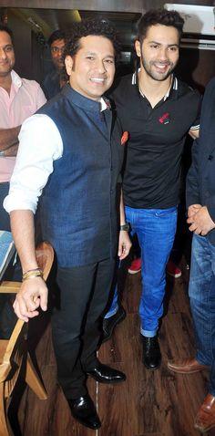 Varun Dhawan with Sachin Tendulkar at Mehboob Studio. #Bollywood #Fashion #Style #Handsome