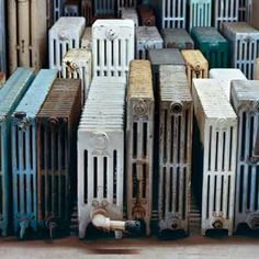 Take a Good Look at Vintage Radiators Vintage iron radiators offer comfort on a cold day and style year-round in new and old houses alike. Old Radiators, Cast Iron Radiators, Painted Radiator, Radiator Heater, Radiator Cover, Save Energy, Old Houses, New Homes, It Cast