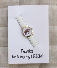 Fashion dress style woman watch. Handmade personal card for a special gift. Perfect for birthday, holiday gift. anniversary, wedding, party, birthday  Thanks for being my friend card note  Choose your personal note in card from the pictures or create your own.  Handmade in our workshop. It will be made and shipped in 3-4 days. Ships with registered tracking number. Expected shipping time 15-25 days.  LISTING INCLUDES - Rose gold fashion steel watch - Gift wrapped with note for a special…