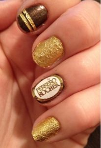 Ferrero Rocher Nails. Love the candy and the nails