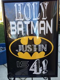 Welcome sign at a Batman Birthday Party!  See more party ideas at CatchMyParty.com!  #partyideas #batman