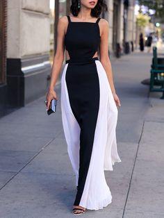 Black White Spaghetti Strap Backless Color Block Maxi Dress