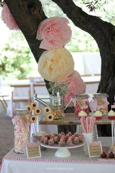 Pink rustic party Candy Bar Bautizo, Candy Table, Candy Buffet, Fiesta Colors, Dulce Candy, Beautiful Desserts, Drink Table, Party Kit, Diy Party Decorations