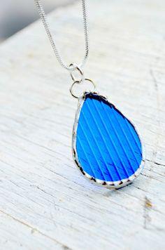 EcoFriendly Blue Vodka Bottle Necklace Upcycled by BayouGlassArts, $34.00