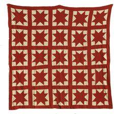 antique red star quilt
