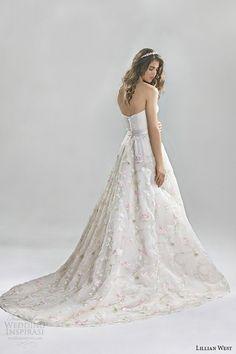 Lillian West Spring 2016 Wedding Dresses | Wedding Inspirasi | Ultra Sweet Strapless Bridal Ball Gown, Sweetheart Neckline, Embroidered Floral Skirt, Floral Belt At Natural Waist, Chapel Length Train^^^^