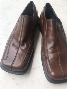 348b4202faff Men s Steve Madden Loafer Square Toe Brown Dress Leather Shoes Size 8 P-Fire