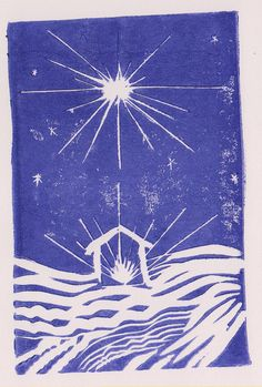 Christmas Star Nativity, beautiful original lino print. AzulBlueDragon on Etsy.