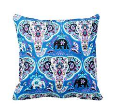 Elephant Damask Blue Cotton Throw Pillow by PrimalVogueHomeDecor
