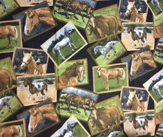 Horse Flannel Fabric 2/3 Yard Brown Green Cotton Horses #DavidTextiles