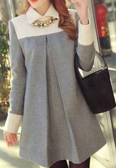 Grey and White Color Block Long Sleeve Wool Shift Dress Grau und Weiß Color Block Langarm Woll Etuikleid Pin: 380 x 530 Woolen Dresses, Women's Dresses, Casual Dresses, Shift Dresses, Elegant Dresses, Sparkly Dresses, Tight Dresses, Shift Dress Outfit, Summer Dresses